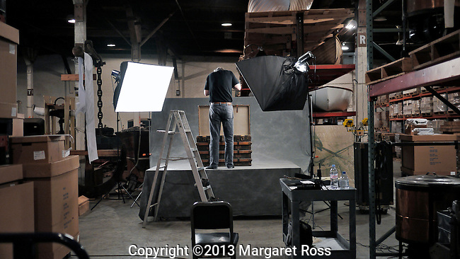Jon Crispin photographing Willard Suitcases<br />  <br /> &copy; 2013 Margaret Ross<br /> Please Credit   Peggy Ross