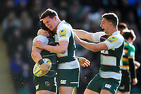 Leicester Tigers players celebrate Harry Thacker's first half try. Aviva Premiership match, between Northampton Saints and Leicester Tigers on April 16, 2016 at Franklin's Gardens in Northampton, England. Photo by: Patrick Khachfe / JMP