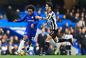 2nd December 2017, Stamford Bridge, London, England; EPL Premier League football, Chelsea versus Newcastle United; Willian of Chelsea battles past Mikel Merino of Newcastle United