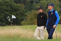 Alejandro Del Ray of Team Spain and Lorenzo Filippo Scalise of Team Italy on the 2nd during Round 3 of the WATC 2018 - Eisenhower Trophy at Carton House, Maynooth, Co. Kildare on Friday 7th September 2018.<br /> Picture:  Thos Caffrey / www.golffile.ie<br /> <br /> All photo usage must carry mandatory copyright credit (&copy; Golffile | Thos Caffrey)