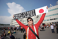 Pictured: A Manic Streets Preacher fan who traveled from Japan Saturday May 2016<br /> Re: Manic Street Preachers at the Liberty Stadium, Swansea, Wales, UK