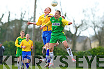 Kerry's Joe Sheehy and Clare's Alan Kelly, jump for the ball in the Oscar Traynor Cup Semi-final Kerry v Clare at Mouthawk park, Tralee on Sunday