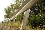 Highway damaged guard rail.
