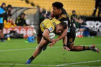 Hurricanes&rsquo; Wes Goosen in action during the Super Rugby - Hurricanes v Chiefs at Westpac Stadium, Wellington, New Zealand on Saturday  27 April 2019. <br /> Photo by Masanori Udagawa. <br /> www.photowellington.photoshelter.com