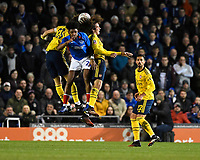 Ellis Harrison of Portsmouth challenges for a head with David Luiz of Arsenal and Matteo Guendouzi of Arsenal during Portsmouth vs Arsenal, Emirates FA Cup Football at Fratton Park on 2nd March 2020