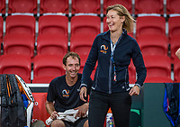 The Hague, The Netherlands, September 11, 2017,  Sportcampus , Davis Cup Netherlands - Chech Republic, training, Team manager Marjolein Notten (NED) in the back Matwe Middelkoop (NED)<br /> <br /> Photo: Tennisimages/Henk Koster