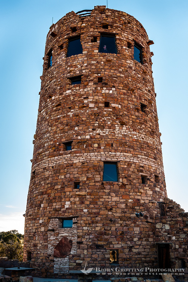 United States, Arizona, Grand Canyon. Desert View Watchtower, also known as the Indian Watchtower at Desert View.