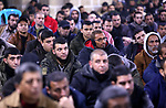 Palestinian supporters of Islamic Jihad movement attend a rally to show solidarity with the Al-Aqsa Mosque and Jerusalem, inside al-Omari mosque, in Gaza city January 25, 2020. Photo by Ashraf Amra