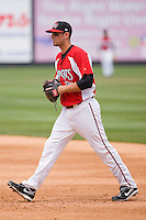 First baseman Eric Eymann #9 of the Carolina Mudcats on defense against the Jacksonville Suns at Five County Stadium May 16, 2010, in Zebulon, North Carolina.  Photo by Brian Westerholt /  Seam Images