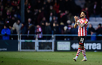 Lincoln City's Bruno Andrade applauds the fans at the final whistle<br /> <br /> Photographer Chris Vaughan/CameraSport<br /> <br /> The EFL Sky Bet League Two - Lincoln City v Northampton Town - Saturday 9th February 2019 - Sincil Bank - Lincoln<br /> <br /> World Copyright &copy; 2019 CameraSport. All rights reserved. 43 Linden Ave. Countesthorpe. Leicester. England. LE8 5PG - Tel: +44 (0) 116 277 4147 - admin@camerasport.com - www.camerasport.com