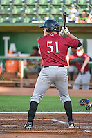 Kyle Pollock (51) of the Idaho Falls Chukars at bat against the Ogden Raptors in Pioneer League action at Lindquist Field on August 27, 2015 in Ogden, Utah. Ogden defeated the Chukars 4-3.  (Stephen Smith/Four Seam Images)