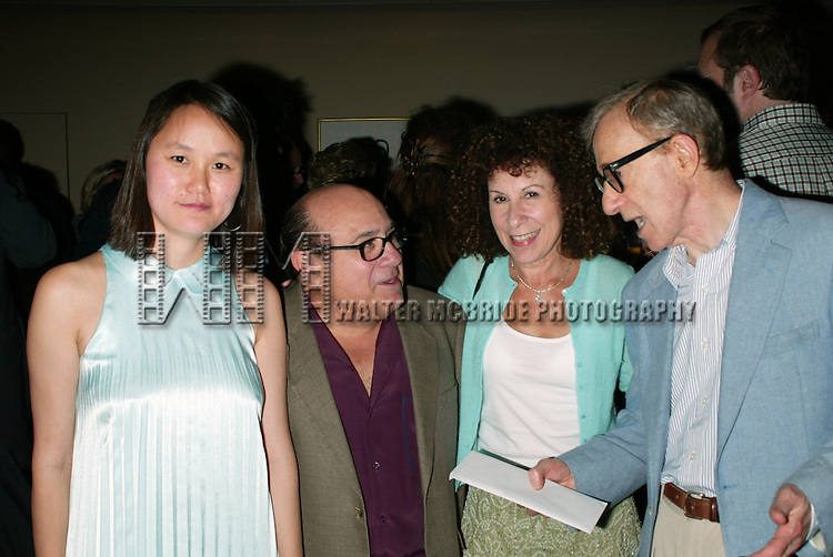 Woody Allen and Soon-Yi Allen with.Danny Devito and Rhea Perlman.Attending the Pre-Cocktail Reception Party for the Movie Premiere of ANYTHING ELSE at Restaurant Brasserie .8 1/2  with a Screening at the Paris Theatre, .New York City..September 16, 2003..© Walter McBride /
