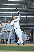 Wake Forest Demon Deacons first baseman Bobby Seymour (3) settles under a foul pop fly during the game against the Davidson Wildcats at David F. Couch Ballpark on May 7, 2019 in  Winston-Salem, North Carolina. The Demon Deacons defeated the Wildcats 11-8. (Brian Westerholt/Four Seam Images)