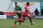 Connacht's Matt Healy turns inside Scarlets' Jordan Williams<br /> <br /> Rugby - Scarlets V Connacht - Guinness Pro12 - Sunday 15th Febuary 2015 - Parc-y-Scarlets - Llanelli<br /> <br /> © www.sportingwales.com- PLEASE CREDIT IAN COOK