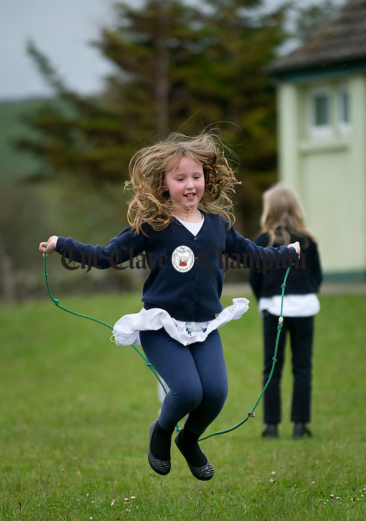Sinead O' Dea practices her skipping at New Quay National School. Photograph by Declan Monaghan