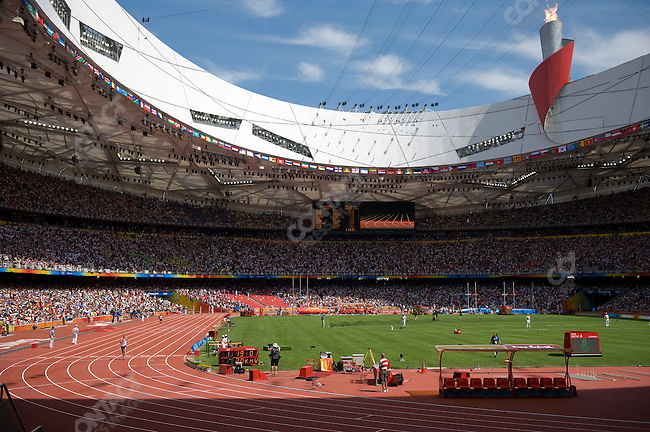 Valeriy Borchin (Russia) - gold, crosses finish line of the 20km Walk, National Stadium, Summer Olympics, Beijing, China, August 16, 2008