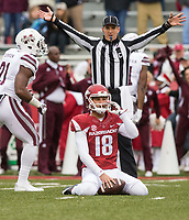 Hawgs Illustrated/BEN GOFF <br /> Blake Johnson, Arkansas punter, reacts after being downed for a loss after a bad snap in the second quarter against Mississippi State Saturday, Nov. 18, 2017, at Reynolds Razorback Stadium in Fayetteville.