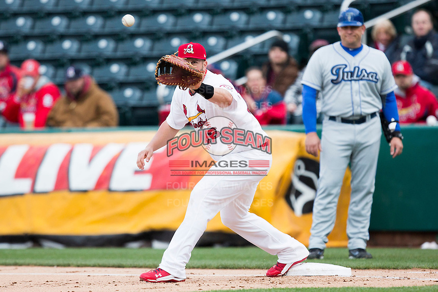 Matt Adams #53 of the St. Louis Cardinals prepares to field a ball thrown to first base during a game against the Tulsa Drillers at Hammons Field on May 4, 2013 in Springfield, Missouri. Adams was on a four game rehab assignment in Springfield. (David Welker/Four Seam Images)