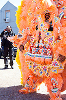 A member of the Monogram Hunters Mardi Gras Indians, in the Treme neighborhood of New Orleans on Mardi Gras day, February 16, 2010.