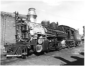 D&amp;RGW #476 K-28 in Durango with roundhouse in background and coaling tower in right background.<br /> D&amp;RGW  Durango, CO  Taken by Payne, Andy M. - 7/1/1964