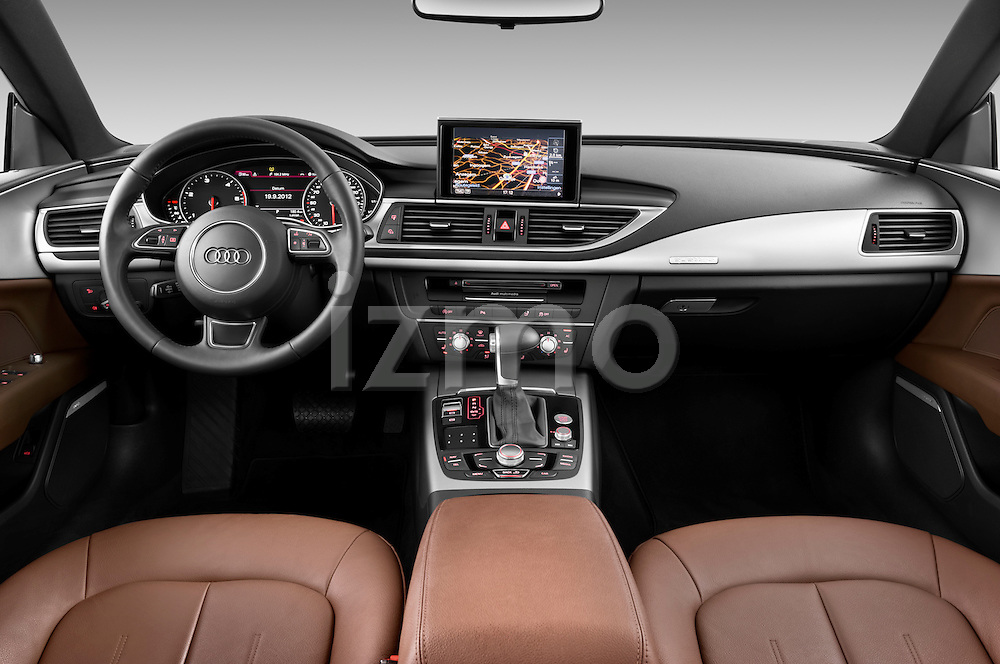 Straight dashboard view of 2013 Audi A7 Hatchback Stock Photo