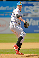 Adam Loewen (44) of the Reading Fightin Phils delivers a pitch during a game against the New Britain Rock Cats at New Britain Stadium on June 22, 2014 in New Britain, Connecticut.   New Britain defeated Reading 5-3. (Gregory Vasil/Four Seam Images)