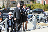 Jean-Francois lepine and Mireille Deyglun<br /> Janine Sutto's daughter<br /> attend Sutto funerals, April 10, 2017.<br /> <br /> <br /> PHOTO  :  Agence Quebec Presse