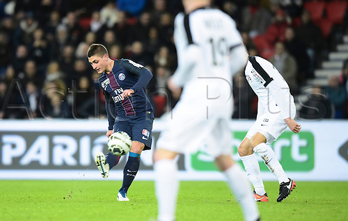 11.01.2017. Paris, France. French league cup football, Paris Saint Germain versus FC Metz.  Marco Verrati (psg)puts the cross into the Metz box