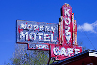 Weatherd sign of the Kozy Café and Motel in Echo, Utah. The city of Echo was once a junction point on the Lincoln Highway for travelers heading west to Salt Lake City or Ogden, Utah.
