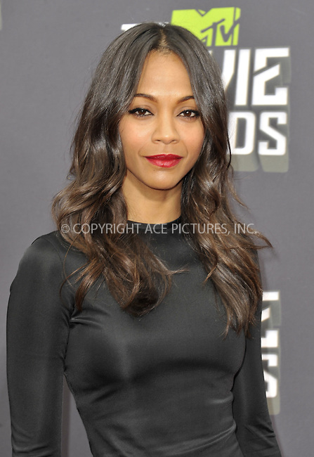 WWW.ACEPIXS.COM....April 14 2013, LA......Zoe Saldana arriving at the 2013 MTV Movie Awards at Sony Pictures Studios on April 14, 2013 in Culver City, California. ....By Line: Peter West/ACE Pictures......ACE Pictures, Inc...tel: 646 769 0430..Email: info@acepixs.com..www.acepixs.com