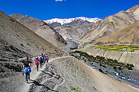 India, Ladakh, Rumbak Village. National Geographic Student Expeditions trek. Students trekking in valley.