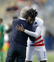 Chester, PA - Monday May 28, 2018: Dave Sarachan, Tim Weah during an international friendly match between the men's national teams of the United States (USA) and Bolivia (BOL) at Talen Energy Stadium.
