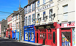 Colourful shops and pub historic high street buildings, Youghal, County Cork, Ireland, Irish Republic