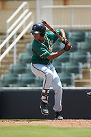 Tristan Pompey (22) of the Greensboro Grasshoppers at bat against the Kannapolis Intimidators at Kannapolis Intimidators Stadium on August 5, 2018 in Kannapolis, North Carolina. The Grasshoppers defeated the Intimidators 2-1 in game one of a double-header.  (Brian Westerholt/Four Seam Images)