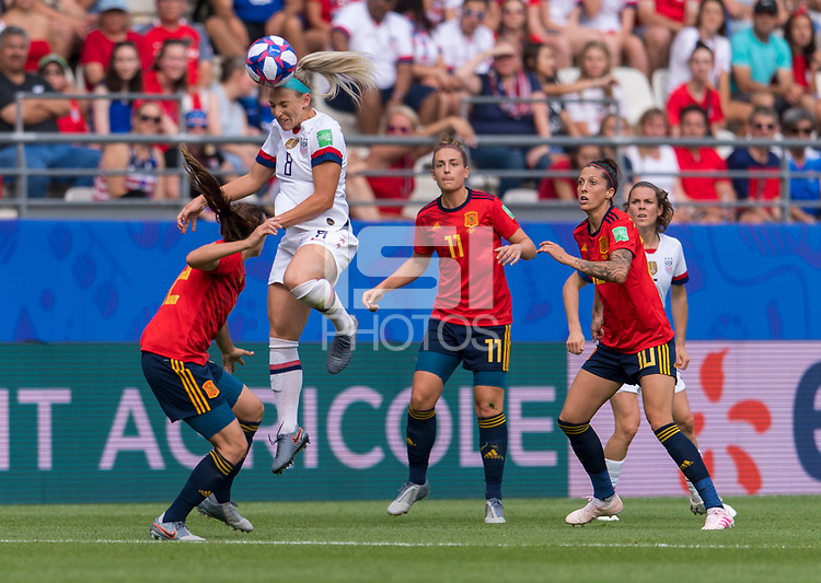 REIMS,  - JUNE 24: Julie Ertz #8 heads the ball during a game between NT v Spain and  at Stade Auguste Delaune on June 24, 2019 in Reims, France.