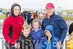 Aileen, Leon, Madeline, Daniel and Mark Kavanagh battle the wind and rain at the Rossbeigh races on Sunday