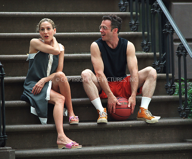 "Sarah Jessica Parker and David Eigenberg filming HBO's ""Sex and the City"" in West Village, New York. June 12, 2002. Please byline: Alecsey Boldeskul/NY Photo Press.   ..*PAY-PER-USE*      ....NY Photo Press:  ..phone (646) 267-6913;   ..e-mail: info@nyphotopress.com"