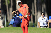 Ashun Wu (CHN) chips onto the 10th green during Thursday's Round 1 of the 2018 Turkish Airlines Open hosted by Regnum Carya Golf &amp; Spa Resort, Antalya, Turkey. 1st November 2018.<br /> Picture: Eoin Clarke | Golffile<br /> <br /> <br /> All photos usage must carry mandatory copyright credit (&copy; Golffile | Eoin Clarke)