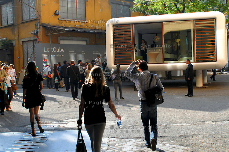 Milano, via Tortona.<br /> Fuori Salone spazio ex Ansaldo.<br /> Milan, via Tortona.<br /> International Design fair.