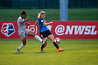 Kansas City, MO - Saturday July 22, 2017: Taylor Smith, Katie Bowen during a regular season National Women's Soccer League (NWSL) match between FC Kansas City and the North Carolina Courage at Children's Mercy Victory Field.