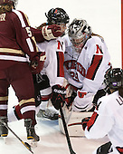 Colleen Murphy (NU - 10), Chloe Desjardins (NU - 29) - The Northeastern University Huskies defeated Boston College Eagles 4-3 to repeat as Beanpot champions on Tuesday, February 12, 2013, at Matthews Arena in Boston, Massachusetts.