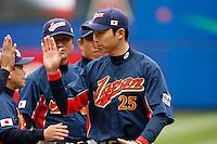 Takahiro Arai of Japan during World Baseball Championship at Angel Stadium in Anaheim,California on March 12, 2006. Photo by Larry Goren/Four Seam Images