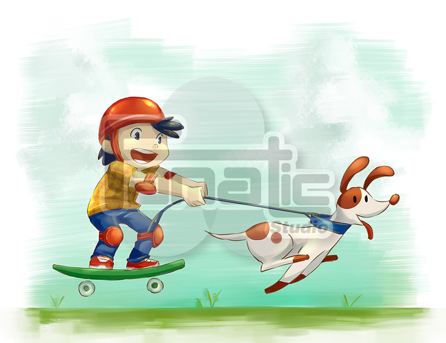 Illustration of boy with dog roller skating