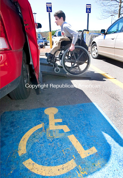 NAUGATUCK, CT. 03 May 2007-050307SV01--Jeff Laliberte of Naugatuck parks in a handicap parking space at Walmart in Naugatuck Thursday. The local handicap commission has been cracking down on handicap parking violations and it looks like the state legislator is getting on the bandwagon, with proposed increases in fines for violators.<br /> <br /> Steven Valenti Republican-American