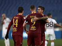 Football, Serie A: AS Roma - Torino, Olympic stadium, Rome, January 19, 2019. <br /> Roma's Edin Dzeko (c), Lorenzo Pellegrini (r) and Patrick Schick (l) celebrate after winning 3-2 the Italian Serie A football match between AS Roma and Torino at Olympic stadium in Rome, on January 19, 2019.<br /> UPDATE IMAGES PRESS/Isabella Bonotto