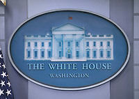 Logo behind the podium in the James S. Brady Press Briefing Room of the White House in Washington, DC on Thursday, February 8, 2018.  <br /> CAP/MPI/RS<br /> &copy;RS/MPI/Capital Pictures