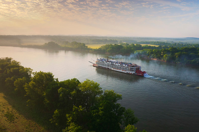 Sunrise over Riverboat on Tennessee River