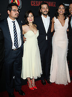 "HOLLYWOOD, LOS ANGELES, CA, USA - MARCH 20: Michael Pena, America Ferrera, Diego Luna, Rosario Dawson at the Los Angeles Premiere Of Pantelion Films And Participant Media's ""Cesar Chavez"" held at TCL Chinese Theatre on March 20, 2014 in Hollywood, Los Angeles, California, United States. (Photo by Celebrity Monitor)"