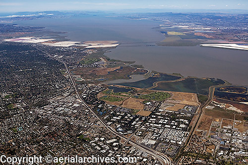 high overview aerial photograph Mountain View, Palo Alto, San Clara county, California