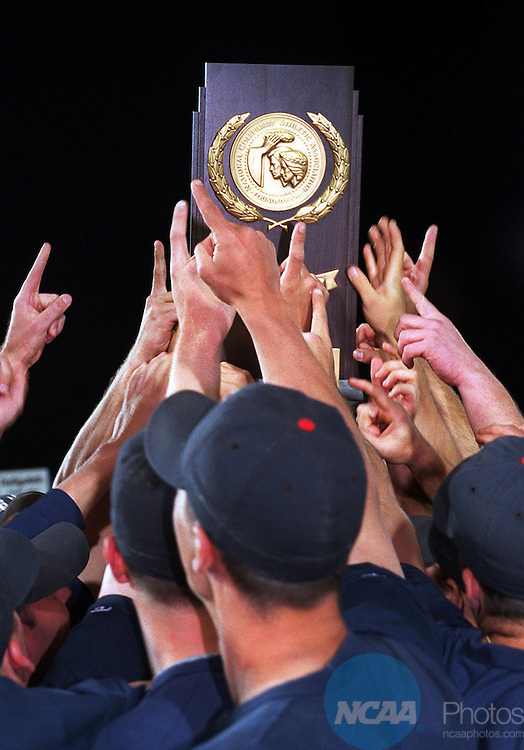 28 May 1997: The University of Southern Maine baseball team celebrates victory after the Division 3 World Series held at Salem Memorial Baseball Stadium in Salem, VA. Southern Maine destroyed Wooster, 15-1, for the championship. Andres Alonso/NCAA Photos.